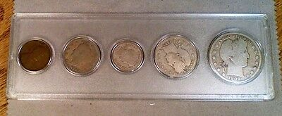 Circulated 1909 Mint Set 1, 5, 10, 25 & 50 Cents