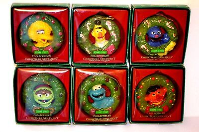 1988 Sesame Street Muppets Characters Christmas Ornaments Porcelain Set of 6