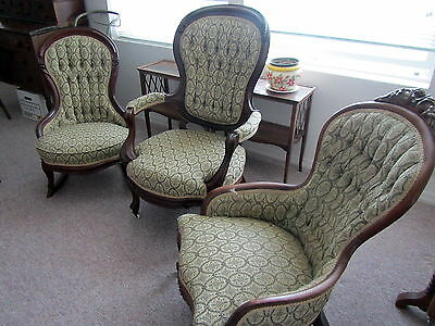 3 Victorian Parlor Chairs - Gent's, Lady's and Rocker  1800s