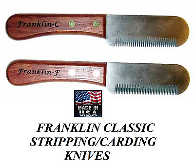 FRANKLIN Classic FINE&COARSE STRIPPING KNIFE SET DOG Coat Hand Stripper Carding