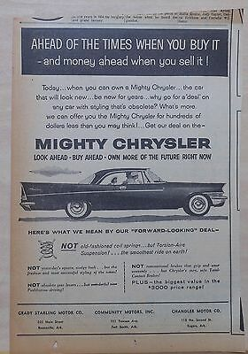 1957 newspaper ad for Chrysler - Forward Looking Deal, Torsion Aire Suspension