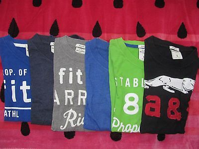 BOY YOUTH ABERCROMBIE & FITCH T-SHIRTS LOT of 6 L LARGE