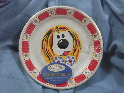 VINTAGE 1970's SEALED PACK OF 8 MAGIC ROUNDABOUT DOUGAL PAPER PLATES - SCARCE