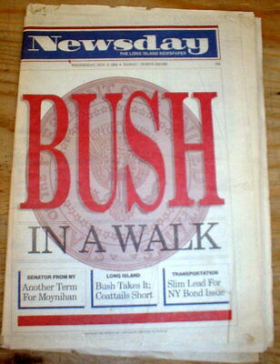 1988 newspaper GEORGE H W BUSH ELECTED President + Boxing SUGAR RAY LEONARD WINS