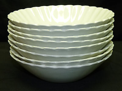 """Set of 8 Vintage J&G Meakin England Classic White 6.5"""" Coupe Cereal Soup Bowls"""