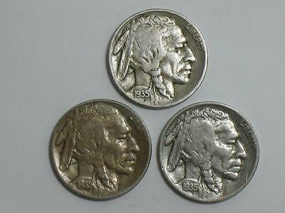 1935 Buffalo Nickel Pds Lot - Philadelphia Denver & San Francisco Mints