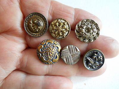 Antique/vintage 6 Good Early Metal  Buttons  #55