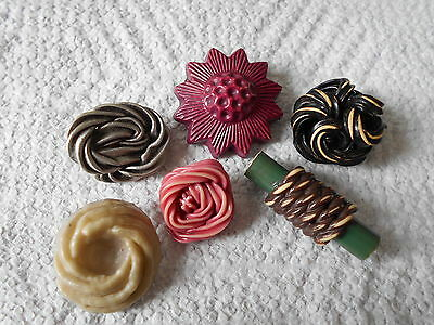 Antique/vintage 6 Mostly Extruded Celluloid Buttons  #63