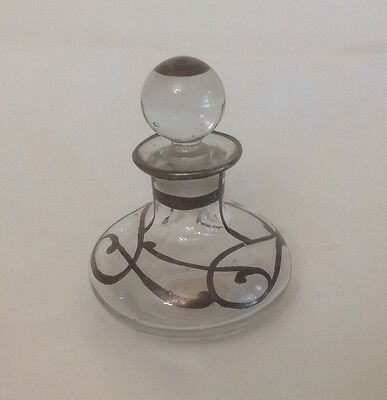 Sterling Silver Overlay Antique Perfume Bottle Marked Very Beautiful