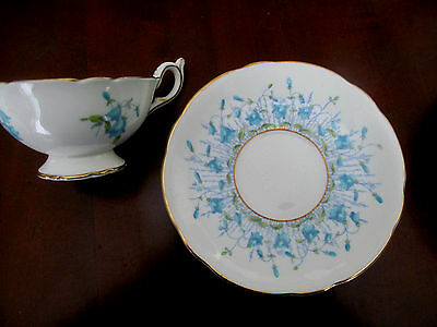 3 Vintage COALPORT HAREBELL CUP and SAUCER SETS Turquoise~England Bone China C&S