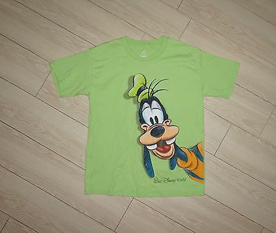 Boys DISNEY Goofy Graphic Tee Shirt T Shirt Short Sleeve Lime Green L Large