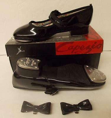 "Capezio Mary Jane 3800C Black Pat Tap Shoes Child Size 1 M Toe-Heel 8"" NIB"