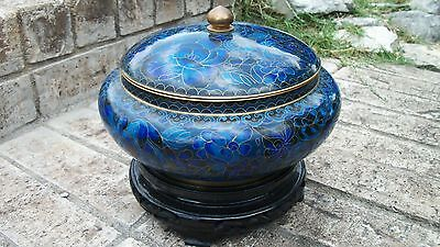 Beautiful Vintage Cloisonne Vase With Stand