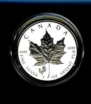 2017 $5 Canada 1 Oz Silver Maple Leaf Rooster Privy Reverse Proof In Capsule