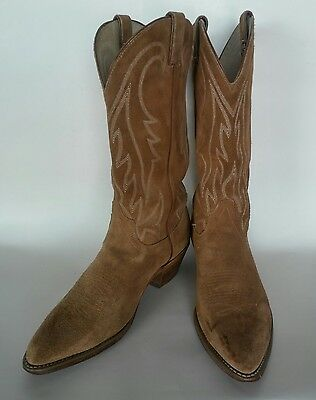 Santa Fe Tan Rough-Out Suede Cowboy Boots, Men's Size 10D, Made In Usa