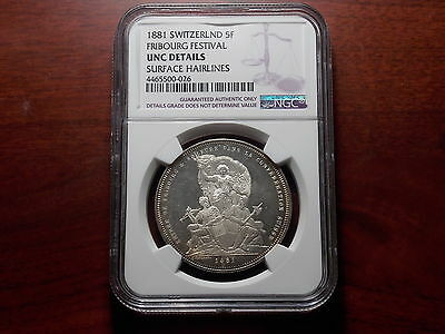 1881 Switzerland 5 Francs large silver coin NGC UNC Shooting Thaler