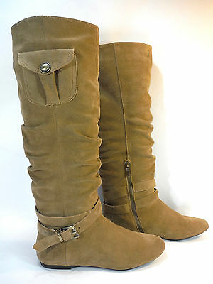 BCB GENERATION BIANCO tan brown suede slouchy cargo harness boots 8.5