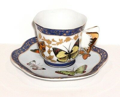 RARE LOVELY ESPRESSO/ DEMITASSE CUP & SAUCER SET w/ COLORFUL BUTTERFLY PATTERN !