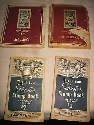 4 OLD Stamp Books for SCHUSTER'S Cash Value Collectible Stamps, Milwaukee