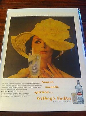 Vintage 1962 Gilbey's Vodka Woman In Yellow Hat Vodka Collins Print ad