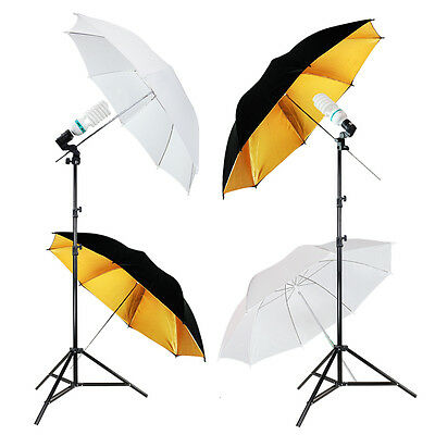2 White/ Black  Umbrella Photography Studio Lighting Kit Photo Bulb Stand Kit