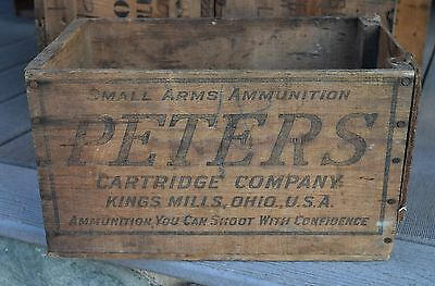 Vintage PETERS Wooden Wood Ammo Box Victor Shipping Ammunition Antique Primitive