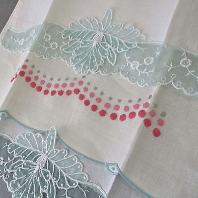 3 Vintage LINEN Organdy Tea Towels PINK Silk Embroidered DOTS Aquamarine FLOWERS