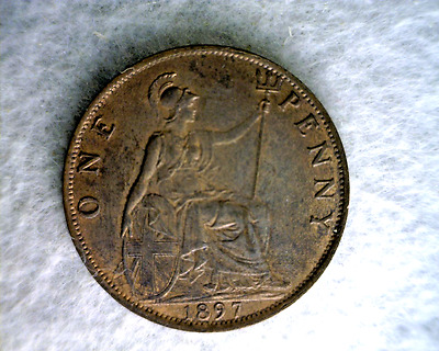 GREAT BRITAIN PENNY 1897 AU/UNC BRITISH COIN (stock# 0344)