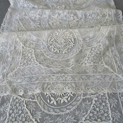 "Vintage Creamy French NORMANDY LACE Long Runner 49"" X 15"" * Embroidered FLOWERS"