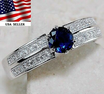 1CT Blue Sapphire & Topaz 925 Solid Genuine Sterling Silver Ring Jewelry Sz 8