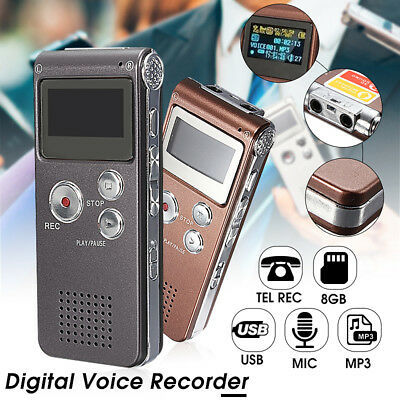 Rechargeable 8GB LCD Digital Voice Recorder Audio Dictaphone MP3 Player Meeting