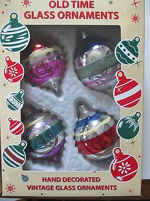 Old Time Glass Hand Decorated Vintage Look Christmas Ornaments Romania