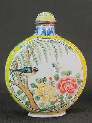 Big Chinese Bird On Osier Hand Painted Copper Enamel Snuff Bottle