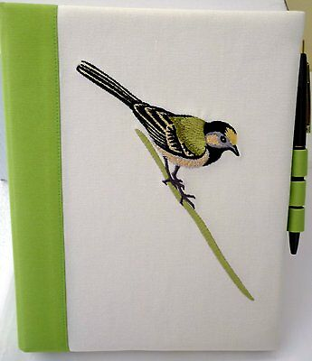 Spiral Note Pad Journal & Pen With Sweet Green Bird Embroidered Reuseable Cover