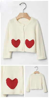 Baby Gap Girls Heart Pocket Cardigan Sweater White Red Size 3-6 Months New