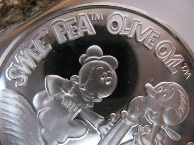 1-Oz. 999 Pure Silver 1987 Amc Cartoon Celebrities Swee Pea Olive Oyl Coin +Gold