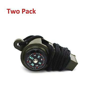 3-1 Whistle Thermometer Compass Emergency Survival Camping Safety fuel Tool