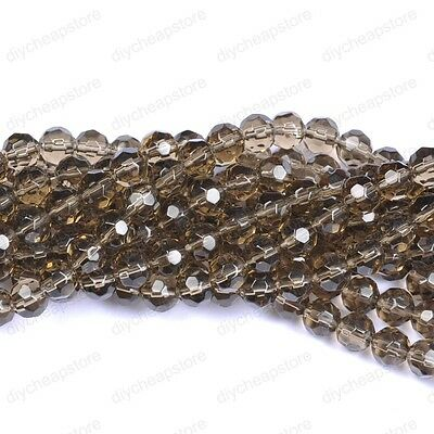 20pcs Gray Quality Czech Glass Faceted Round Ball Spacer Loose Beads 8MM