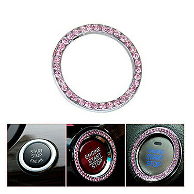 Pink Rhinestone Car Bling Ring Emblem Tape Sticker Bling Start Ignition Button