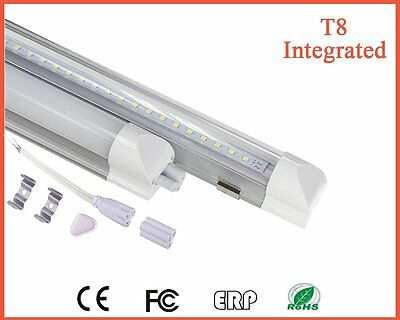 Lot of 10 LED 4FT 20W Integrated T8 Light Tube Bulb 6500K Pure White CLEAR Cover