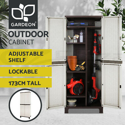 Outdoor Storage Cabinet Lockable Cupboard Tall Garden Garage Adjustable Spacious