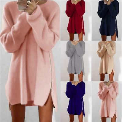 Plus Size Womens Long Sleeve Knit Cardigan Jumper Top Loose Casual Sweater Dress