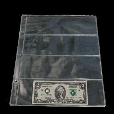 4 Pockets Album Pages Money Bill Note Currency Holder Storage Collection 1 Sheet