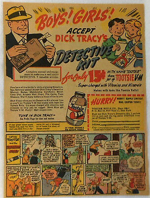 1944 Tootsie V-M premium ad page ~ DICK TRACY DETECTIVE KIT