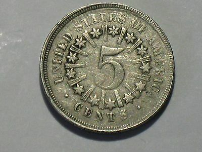 1866 5C Rays Shield Nickel, (SEE PHOTOS CLOSELY) date mis-stamped at U.S. Mint