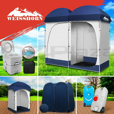 Outdoor Camping Portable Toilet + Shower Tent Pop Up Change Room + Water Tank