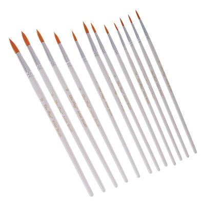 12Pcs Artists Paint Brush Set Nylon Hair Watercolor Tip Pointed Head White