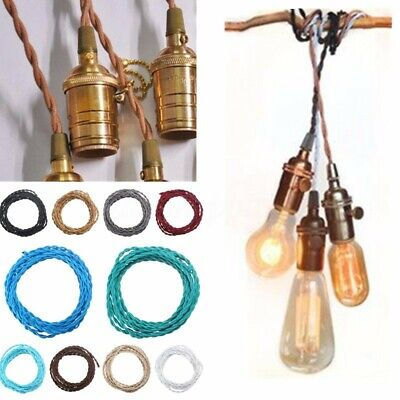 2/3/5/10m 2 Core Vintage Colored Fabric TWISTED braided lighting Cable Flex Cord