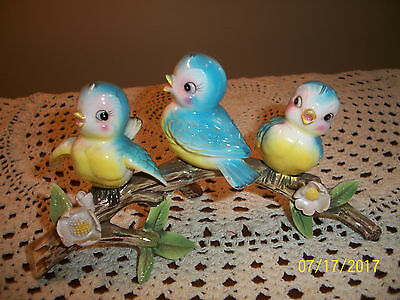 "Vintage Trio Baby Bluebirds Sitting on Branch Log Norcrest ""Adorable"""