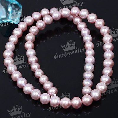7-8Mm Cultured Freshwater Pink Ball Loose Pearl Beads For Jewellery Craft Diy